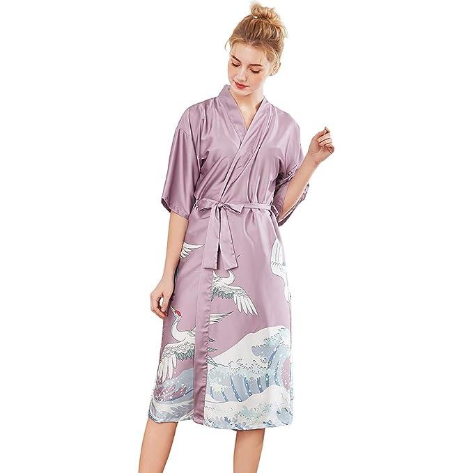 MEYINI Satín Batas de Kimono Señoras - Verano Bata Fiesta de ...