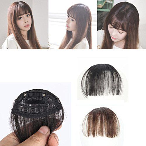 Sinwo Women Pretty Girls Clip On Clip In Front Hair Bang Fringe Hair Extension Piece Thin (D)