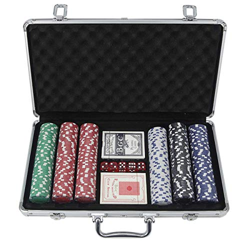 300 Pc Poker Chip Case - OSLAMP 300 PCS Poker Chips with Aluminum Carrying Case Clay Composite Tournament Chips Custom Set