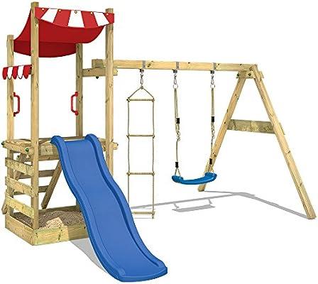WICKEY Parque infantil de madera FunFlyer con columpio y tobogán, Torre de escalada de exterior con arenero y escalera para niños: Amazon.es: Juguetes y juegos