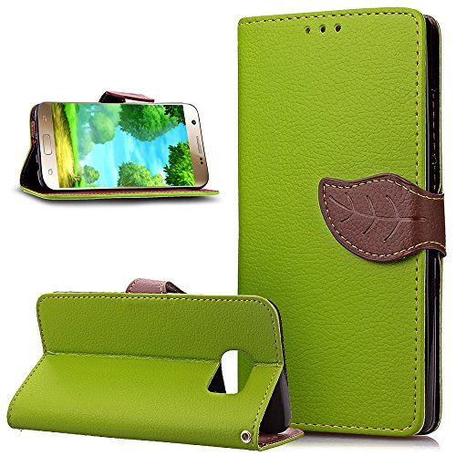 Galaxy S7 Case,NSSTAR Leaves Buckle  PU Leather Flip Fold Wallet Pouch Case Premium Leather Wallet Flip Stand Credit Card ID Holders Case Cover for
