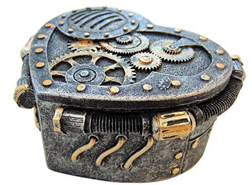(ESI Steampunk Box Heart Gearwork Jewelry Trinket Stash Keepsake 4 Inch Long Case Victorian Scifi )