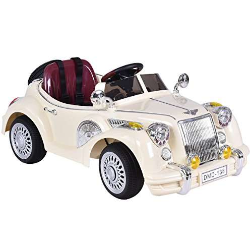 (Costzon Ride On Car, Parental Remote Control, 12V Electric Battery Power Luxury Vintage Car w/MP3, Beige)