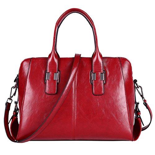 totalizador mujeres de de de las hombro Trabajo Bolso mensajero Color ocasional Red cuero Brown de Bolso xYq78UAwA