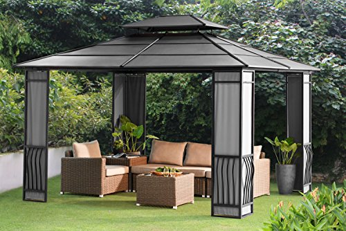 Sunjoy 10' x 12' Wyndham Hardtop Gazebo with Fabric Screen - Black Top