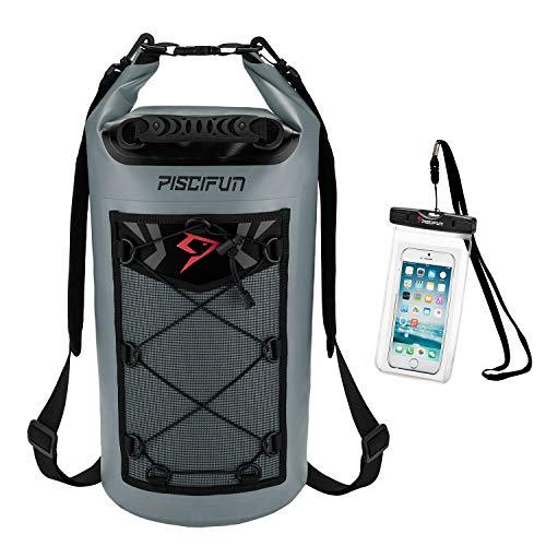 Piscifun Waterproof Dry Bag with Waterproof Phone Case Grey 10L