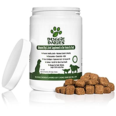 Doggie Dailies Glucosamine for Dogs, 225 Soft Chews, Advanced Hip and Joint Supplement with Glucosamine, Chondroitin, MSM, Hyaluronic Acid, and CoQ10, Premium Joint Relief for Dogs, Made in the USA