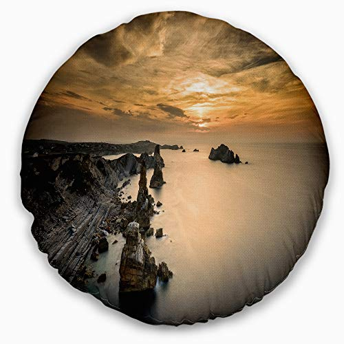 Designart CU7432-20-20-C Liencres Rocks on Coast in Spain' Landscape Printed Throw Cushion Pillow Cover for Living Room, Sofa, 20'' Round, Pillow Insert + Cushion Cover Printed on Both Side by Designart