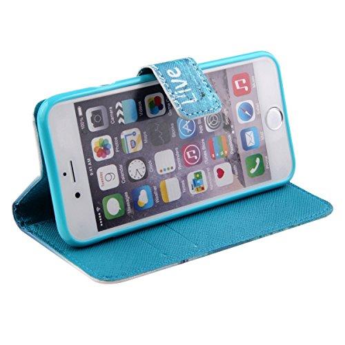 Ukayfe Custodia iPhone 5/5S in Pelle, Portafoglio / wallet / libro Flip elegante e di alta qualità con porta carte di credito e banconote Stampa creativa Chiusura Magnetica Protettiva Cover Case per i