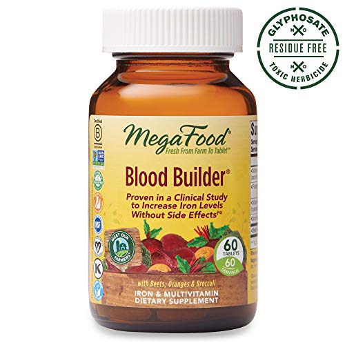 MegaFood, Blood Builder, Daily Iron Supplement and Multivitamin, Supports Energy and Red Blood Cell Production Without Nausea or Constipation, Gluten-Free, Vegan, 60 Tablets (60 Servings) (FFP) (Ultimate Therapy Enzymatic Iron)