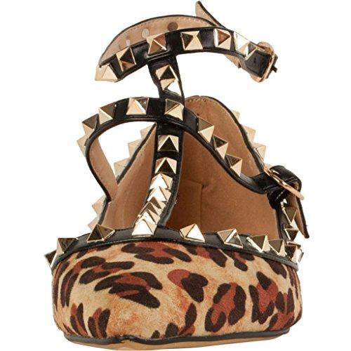 Calaier Donna Caforty Eleganti Ragazze Di Design Di Lusso Moda Stampa Leopardo T Strap Rivetto Borchiato Cinturino Punta A Punta Piattina Piatta 0.5cm Multicolore