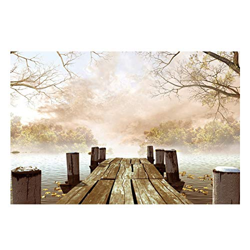 T&H Home Peaceful Boardwalk Aquarium Décor Backgrounds, Depths of The River Forest Fish Tank Background Aquarium Sticker Wallpaper Decoration Picture PVC Adhesive Poster 48.8