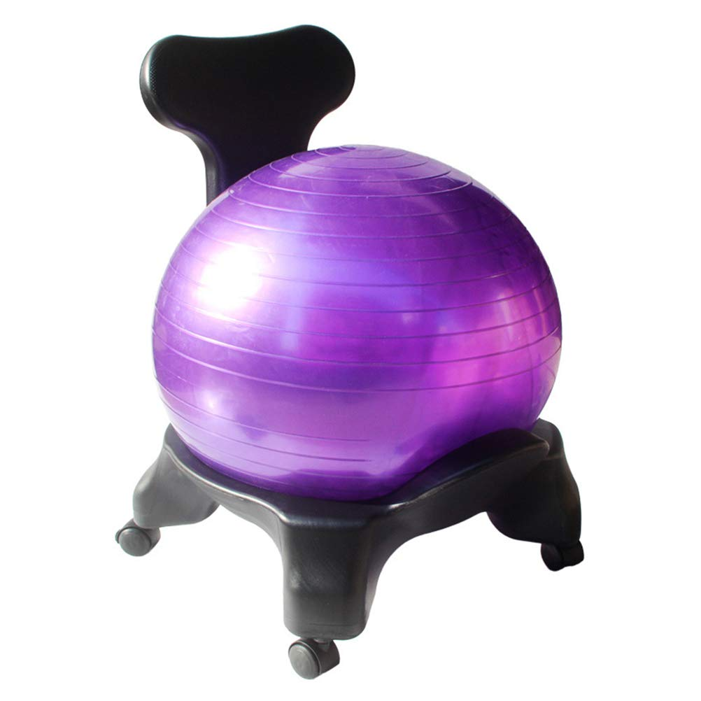 TINKSKY Classic Yoga Ball Chair Balance Ball Chair with Back Support 55CM Stability Ball Exercise Guide for Home or Office (Random Color)