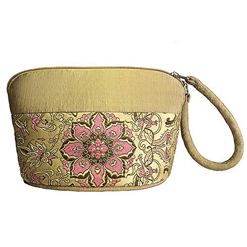 Women Wristlet Wallet Clutch Large Capacity Bag Chinese Embroidery Holder