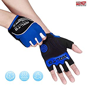 Arltb Cycling Gloves Bike Bicycle Gloves Padded Fingerless Biking Gloves Mittens with Easy to Pull Ring Shock Absorb Lycra Breathable For Bike Riding BMX Bikes Mountain