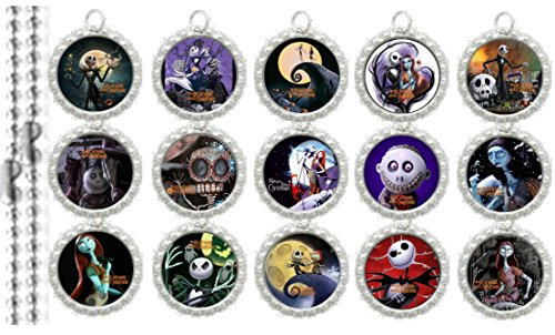 15 Nightmare Before Christmas Silver Bottle Cap Pendant Necklaces Set 3]()