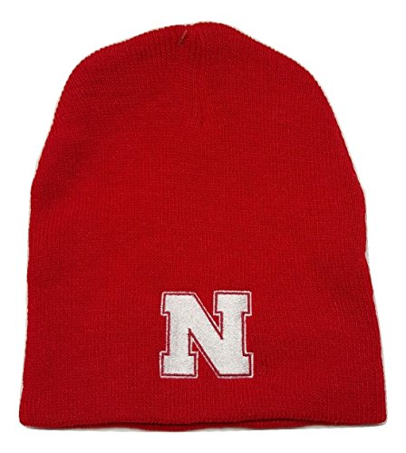 NCAA Nebraska Cornhuskers Cuffless Knit Beanie Cap - Choose Color (Red)