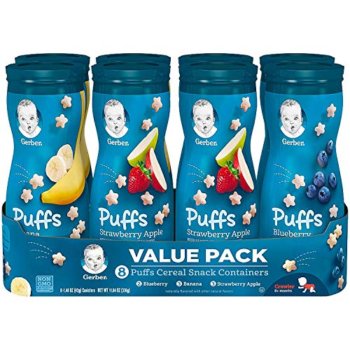 Gerber Graduates Puffs Cereal Snack, Assorted Flavors, 1.48 Ounce, 6 Count (Gerber Treats)