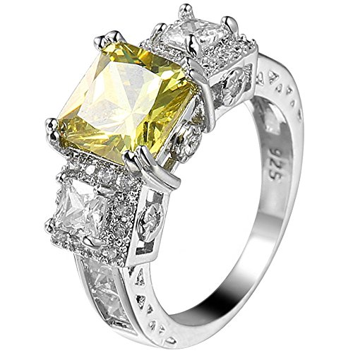 XAHH 925 Sterling Silver 3 Ct Princess Cut Yellow Cubic Zirconia CZ Engagement Wedding Ring Size 6 to 10 Size 6 (Gifts 1 Dollar)