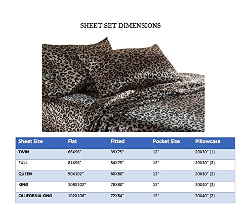 Elite Home Products 100% Luxury Satin Polyester Solid Sheet Set, King, Leopard