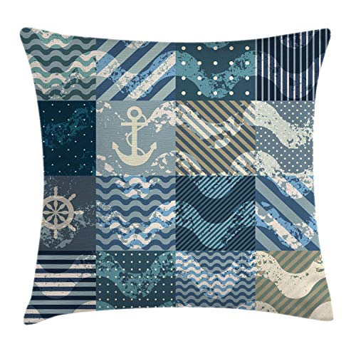 Ambesonne Nautical Decor Throw Pillow Cushion Cover, Marine Wave Patterns in Patchwork Style Boxes Squares Navy Striped Print, Decorative Square Accent Pillow Case, 18 X 18 inches, Blue Beige