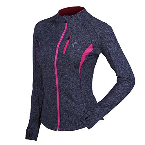 J. carpas chamarra de running yoga entrenamiento mujer, cierre completa, dos bolsillos laterales con orificios para los...