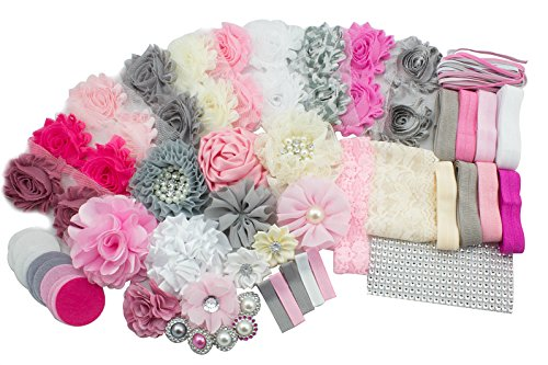 Fabric Fun Baby Kits (JLIKA Fashion Headband Kit - Baby Shower Games Headband Station Party Supplies for DIY Hair Bow Maker - Make 32 Headbands and 5 Clips - Paris Inspired Collection)
