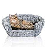 Pawhut Wicker Pet Bed Willow Dog Cat Sofa Couch Puppy Basket with Cushion Grey 74L x 59W x 20H cm