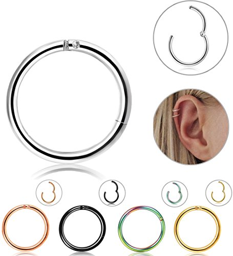 LOLIAS 5 Pcs 16g Stainless Steel Cartilage Earrings for Men Women Nose Hoop Ring Helix Septum Couch Daith Lip Tragus Piercing Jewelry