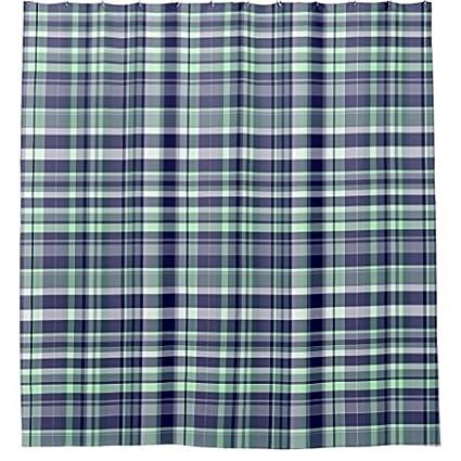 Amazon Mint Navy Blue White Preppy Madras Plaid Shower Curtain