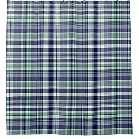 Amazon.com: Mint Navy Blue White Preppy Madras Plaid Shower Curtain ...