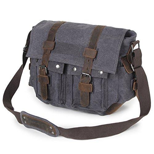 Messenger Bag, veckle lona de los hombres Satchel clásico Crossbody Bolsa con Bandolera de Piel Correa Para Hombres y...