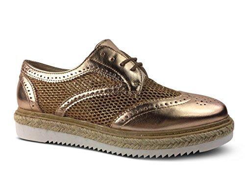Schuhtraum Damen Schnürer Halbschuhe Schnürhalbschuhe Plateau Metallic Slipper Sneakers STH3 Champagner