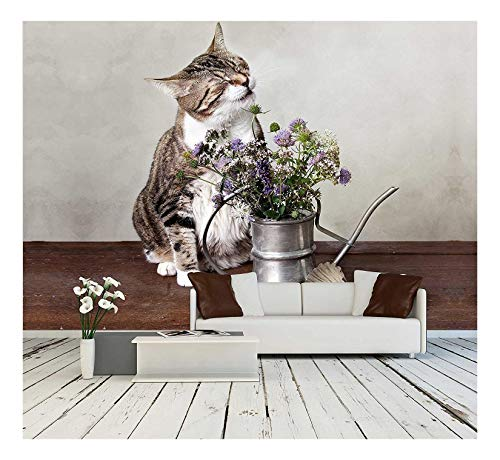 - wall26 - Cat with Flowers in Old Decorative Watering Can - Removable Wall Mural | Self-Adhesive Large Wallpaper - 100x144 inches