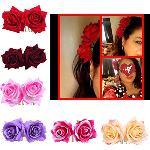 Ever Fairy Rose Flower Hair Clip Slide Flamenco Dancer Pin Flower Brooch Lady Hair Styling Clip Hair Accessories (6 Colors pack)