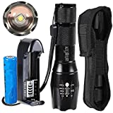 ustopfire A100 Cree XM-L2 2000Lumens LED 5-Mod Flashlight Torch Lamp with Charger and 1 x 18650 Battery and holster