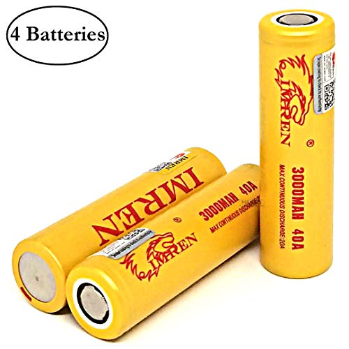 M&A BD 4 Pack with Battery Organizers IMREN 3000mAh 20A Flat Top Battery, 3.7V Rechargeable High Drain for Electric Tools, Toys, LED Flashlights, Torch, and Etc (The Best 18650 Rechargeable Battery)