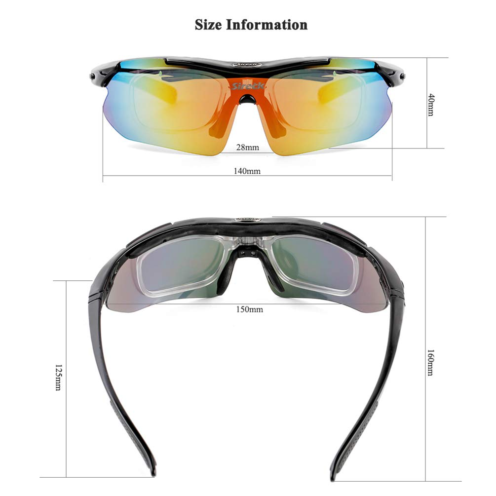 Sireck Polarized Sports Sunglasses Cycling Fishing Hiking Golf Glasses UV400 For Men Women 5 Lens