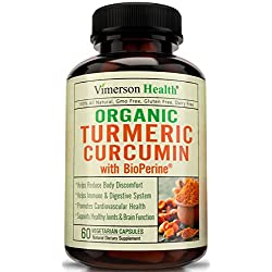 Organic Turmeric Curcumin with 10mg of Bioperine per Serving. Powerfull Anti-Inflammatory & Antioxidant Supplement with Black Pepper for Best Absorption. All Natural Non-Gmo Joint Pain Relief