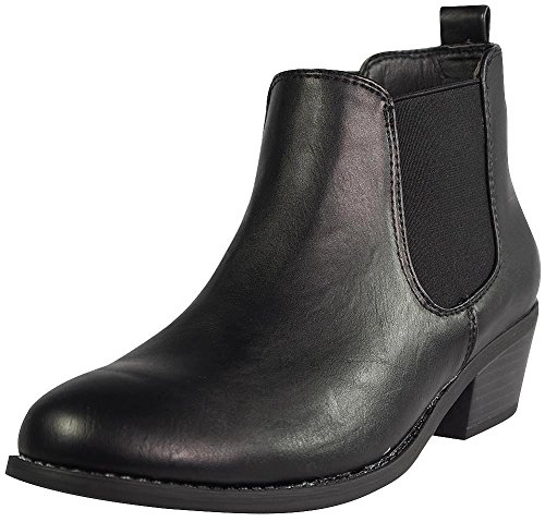 Refresh Tildon-02 Women's Almond Toe Simple Flat Heel Ankle Riding Booties,Black,8.5