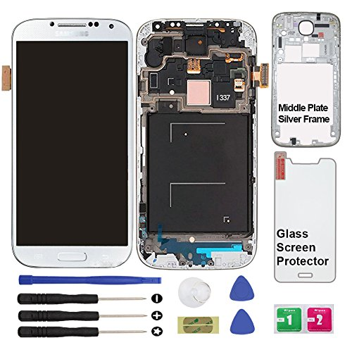 Display Touch Screen (AMOLED) Digitizer Assembly with Frame for Samsung Galaxy S4 (SIV) SGH-I337 (AT&T)/SGH-M919 (T-Mobile)(for Mobile Phone Repair Part Replacement) (White Frost) by AiYiA