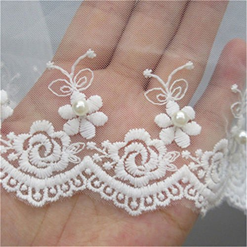 2 Meters Mesh Tulle Flower Pearl Lace Edge Trim Ribbon 10 cm Width White Trimmings Fabric Embroidered Applique Sewing Craft Wedding Bridal Dress Veil Embellishment DIY Party Decor Clothes Embroidery
