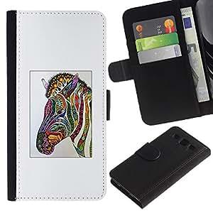 Cebra Arte de la acuarela de dibujo- la tarjeta de Crédito Slots PU Funda de cuero Monedero caso cubierta de piel Para Samsung Galaxy S3 III i9300 i747