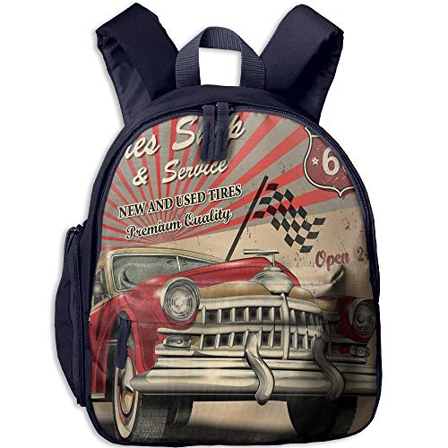Price comparison product image Haixia Kid Boys'&Girls' Backpack with Pocket Cars Tires Shop and Service Route 66 Emblem Advertisement Retro Style Poster Print Decorative Red Grey Sepia