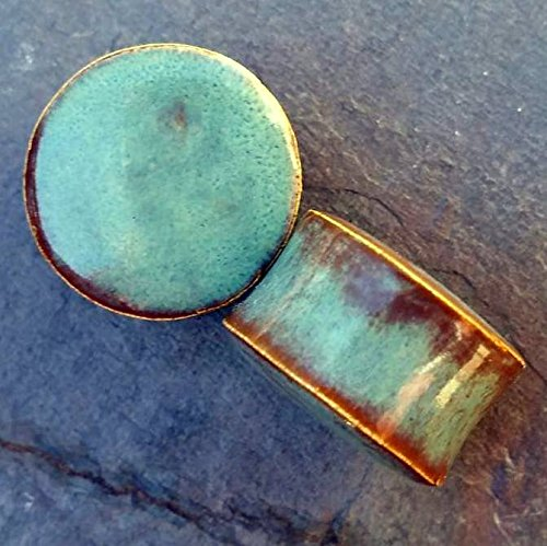 Turquoise stone inspired Seagreen Glass Ear Plugs Organic Handmade Gauges Pair