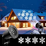 2018 Newest Christmas Lights, White Moving Snowflake Light Projector Holiday Outdoor Decorations Waterproof for Landscape Garden Halloween Thanksgiving Christmas Party