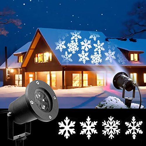 2018 Newest Christmas Lights, White Moving Snowflake Light Projector Holiday Outdoor Decorations Waterproof for Landscape Garden Halloween Thanksgiving Christmas Party(12W)