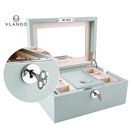 Vlando Retro Lockable Jewelry Box Organizer w/ Large Mirror & Key Gifts for Women Girls (Aqua Green (Microfiber (Lock Key Jewelry)