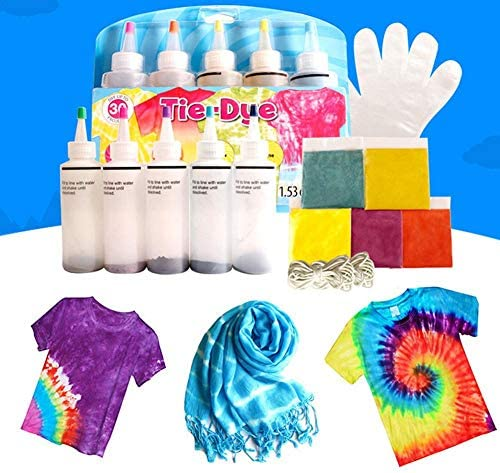 Tie Dye DIY Kit 5 Colors Tie Dye Shirt Fabric Dye DIY Clothing Graffiti Dye Party Supplies for Family Friends Groups Party Entertainment Supplies
