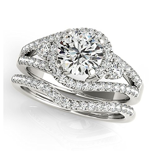 14K White Gold Unique Wedding Diamond Bridal Set Style MT50783